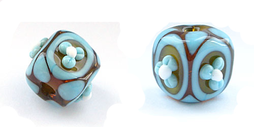 lampworked bead in amber and turquoise